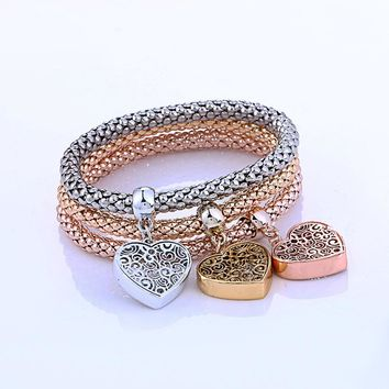 New Fashion Bracelets Bangles Jewelry Gold Silver Chain Bracelet Round Hollow Charm Bracelets For Women pulseira