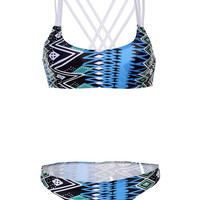 Blue, Black, and White Bikini Swimsuit