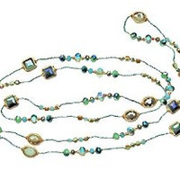 "Necklace Handcrafted Silver Glass and Crystal Beads 80"" Long Green"