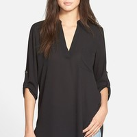 Junior Women's Lush 'Perfect' Roll Tab Sleeve Tunic,