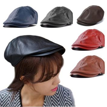 Luxury Mens Women Leather Beret Cap Vintage Peaked Hat Newsboy Sunscreen Top Hat