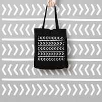 Geometric Black Tote Bag - Hand Drawn Canvas Tote Bag - Printed Tote Bag - Market Bag - Cotton Tote Bag - Large Canvas Tote - Funny Tote Bag