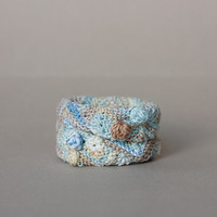 Cotton cuff bracelet in light blue beige and white Knitted statement jewelry, OOAK