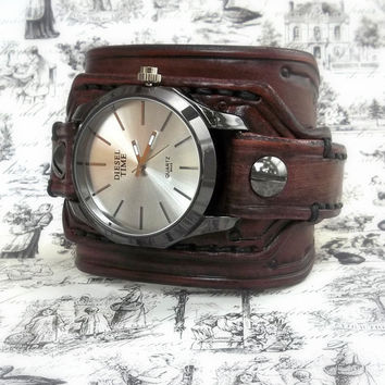 Mahogany Leather Cuff Watch, Wrist Watch, Men's watch, Bracelet Watch, Watch Cuff