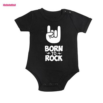 Culbutomind Born To Rock Black Cotton Short Sleeve Baby Bodysuit Baby Boys Girls Clothes Funny Baby Clothing Newborn Baby Shower