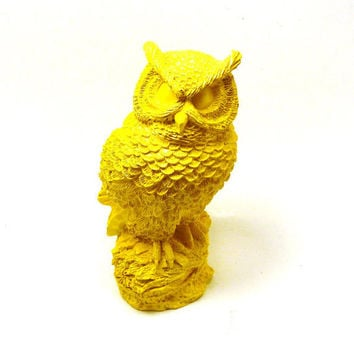 bright yellow owl figurine // upcycled owls bird by nashpop