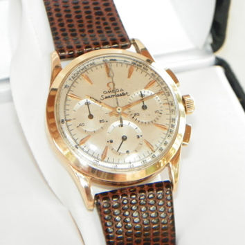 Vintage Omega 18k Solid Gold Chronograph--Beautiful Collector's Watch!