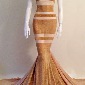Full length mesh gown with gold patterns, mesh/poly bend