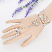 NEW bridal jewelry leaves hand chains with finger ring for lady high quality silver plated wedding handjewelry slave jewelry