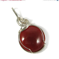Summer SALE Sterling Silver Carnelian Agate Wire Wrapped Pendant  Sculpted Cabochon