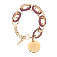 Sorority Garnet Enamel Link Bracelet with Gold Disc
