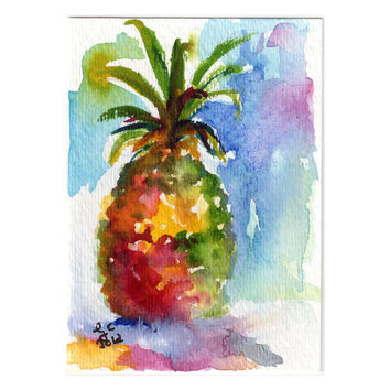 ACEO Painting Pineapple Fruit Tropical Original by Ginette Callaway  Watercolor and Ink