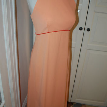 60s 70s Maxi, Dress, Halter Neck, Peach, Pink, Mod, Prom, Wedding, Size S/M
