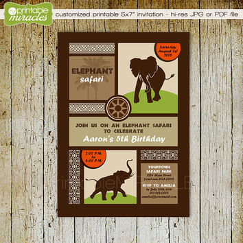 Printable elephant invitation, Elephant birthday invite, Personalized digital African safari party invitation card, brown orange tan green