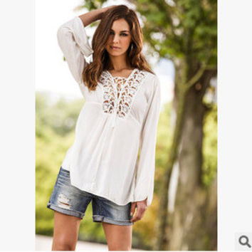 Winter Lace Patchwork Casual Elegant Tops Shirt [6331533124]