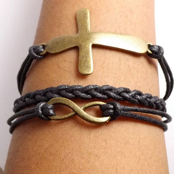 Faux Leather Infinity Cross Bracelet for Men & Women - Made in the USA - Waxed Cotton Cord - easter gift, friendship gift, birthday gift