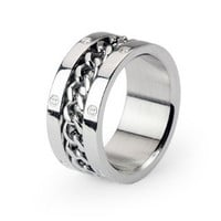 Steel Wheel - FINAL SALE Modern Industrial Design Chained Around The Center Stainless Steel Ring