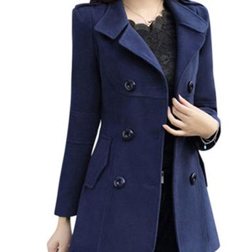 HEE GRAND Women Spring OL Trench Plus Size M-3XL Women Jacket Ladies Pea Coat Slim Double Breasted Blended Coats WWN717