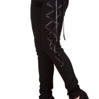 Gothic Rockabilly Steampunk Black Side Corset Skinny Jeans Pants