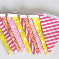 Lemonade Stand Bunting - Pink & Yellow - Photo Prop - Fabric Flag - Nursery Decor - Birthday Decoration - Garland - Pendant - Fabric Bunting