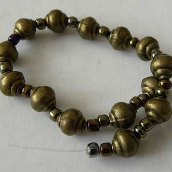 "7"" Strand  of  Antiqued Brass Metal  Beads and Plastic  Seed Bead Spacers Ships from USA  Immediately. (Str046)"