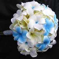 Natural Touch Bouquet Blue White Frangipani Plumeria [BNTPlumFran] - $49.99 : DebbieCoFlowers.com, Silk Wedding Bouquets - Silk Bridal Bouquets and Coordinating Decorations Custom Designed