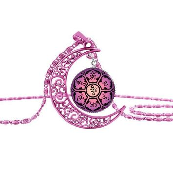 Hot wiccan rose red moon necklace handmade yoga henna statement pendant  necklace bloom lotus mandala om symbol Zen Buddhism RR9 R3