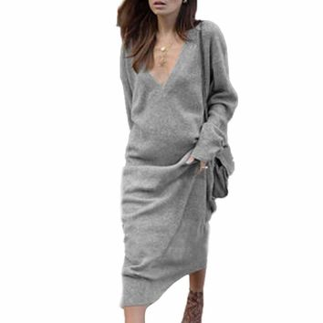 Fall Ladies V-Neck Long Sleeve Gray Solid Maxi Dress Autumn Women's Casual Loose Simple Design Formal Party Dresses Vestidos #LH