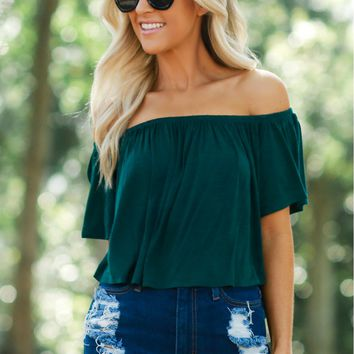 Solid Ruffle Crop Top Green