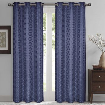 Navy Willow Blackout Window Curtain Panels (Two Panels )