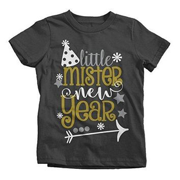 Shirts By Sarah Boy's Little Mister New Year T-Shirt Year's Party Hat Tee