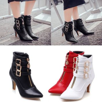 Women's High Heels Ankle  Boots Pumps Roma Zip Up Shoes Pointed Toe Retro