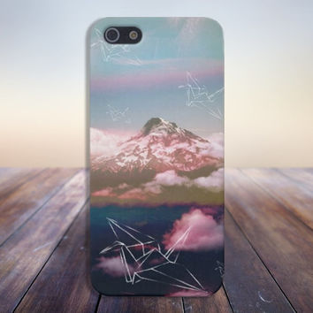 Origami Birds x Snowy Mountains Case for iPhone 5 iPhone 5S iPhone 4 iPhone 4S and Samsung Galaxy S5 S4 & S3