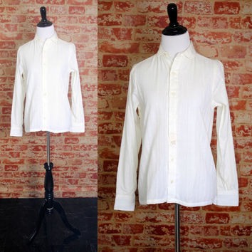 Vintage 1980s DEADSTOCK White cream long sleeve button down  preppy shirt blouse Tiny fit Dress Shirt top