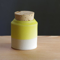 yellow corked canister- size small with off white stoneware clay and yellow glaze modern ceramic pottery