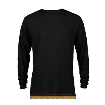 Plain Black Long Sleeve T-shirt With Fringes