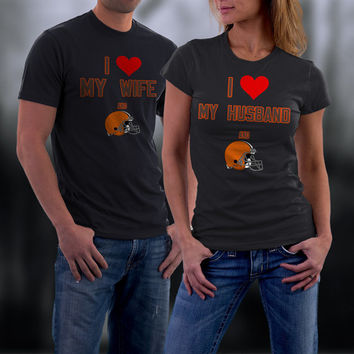 Browns,Cleveland Browns Couples Shirt,  Browns Matching Couples tshirts,I love my Husband and the Browns Shirt,Wedding T Shirts