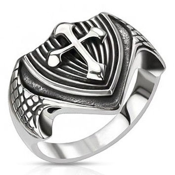 Dragon's Cross – FINAL SALE Black oxidized silver stainless steel dragon wings cross shield ring