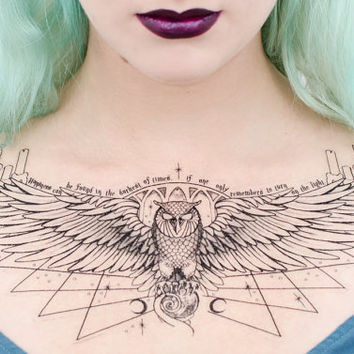 Owl Podium Dumbledore-Inspired Temporary Tattoo