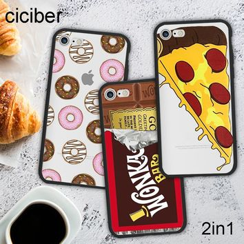 ciciber Cute Cartoon Food Tumblr Donut Pizza Chocolate Phone Case Cover For iPhone 7 8 6 Plus X Silicone Hard PC Hybrid Fundas