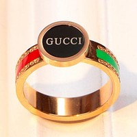 GUCCI Fashion New Letter Red Green Stripe Women Men Ring Rose Gold