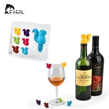 FHEAL 7pcs/set Squirrel Wine Stopper with Wine Glass Markers Cup Recognizer Labels Silicone Bottle Stopper Set Party Accessories