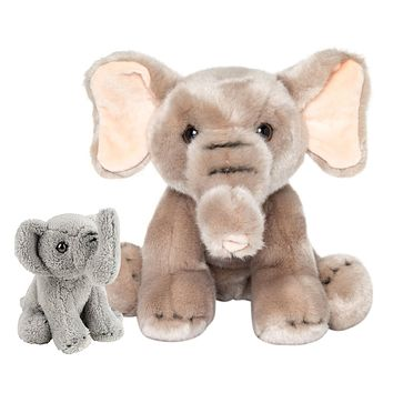 9 and 5 Inch Stuffed Elephant Mom and Baby Plush Floppy Zoo Animal Kingdom Family Collection