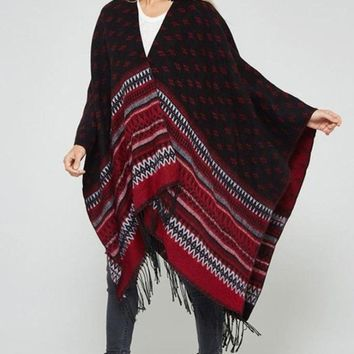 Swift Knit Two-Way Poncho - Ruby