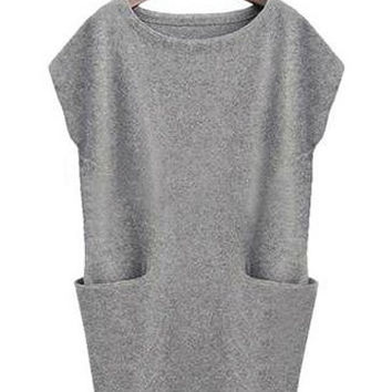 Grey Side-Pocketed Shift Dress