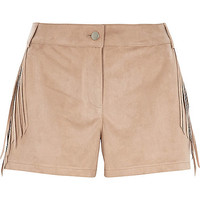 River Island Womens Beige faux suede fringed shorts