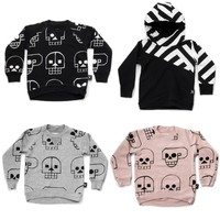 2018 Nununu Autumn Sweatshirt Kids Fashion Skull Pattern Tops Hooded T-shirt Children Boys Girls Nununu Clothes New Arrivals
