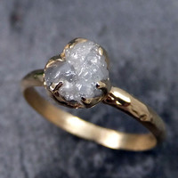 Raw Diamond Engagement Ring Rough Uncut Diamond Solitaire Recycled 14k gold Conflict Free Diamond Wedding Promise byAngeline