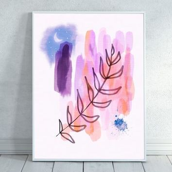 Solstice Watercolor, Abstract Watercolor, Moon, Abstract, Watercolor, Pink Watercolor, Floral Painting, Starry Night, Pink Decor, Nature Art