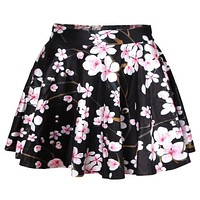 East Knitting Saias 2016 Women Mini Skirt Brand Summer Adventure Time Galaxy Skater Print Party Fashion Skirts Women Clothing
